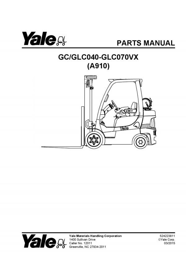 Yale A910 Parts Catalog (Parts Book)